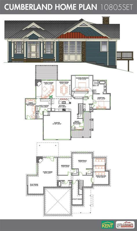 cumberland  bedrooms   bath home plan features