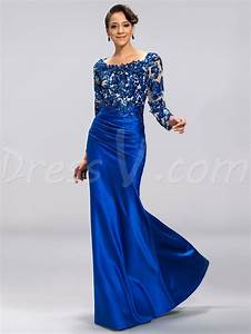 graceful long royal blue mother of the bride dress lace With tidebuy robe de soirée