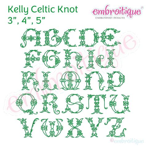 alphabets embroidery fonts kelly irish celtic knot