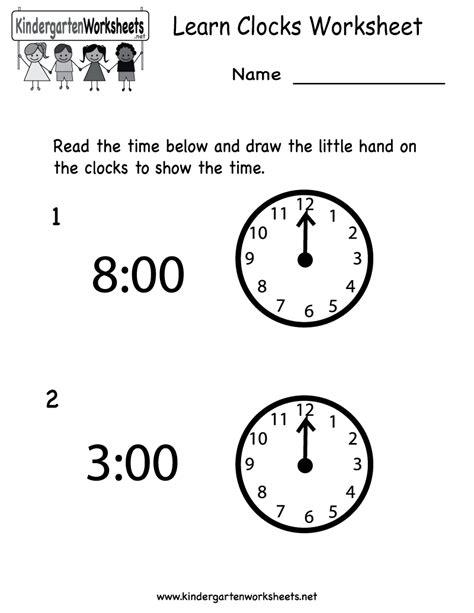 learn clocks worksheet free kindergarten learning