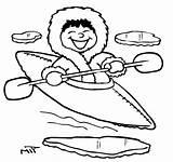 Eskimo Coloring Pages Kayaking Kayak Drawing Printable Getcolorings Getdrawings Bulb Light Found sketch template