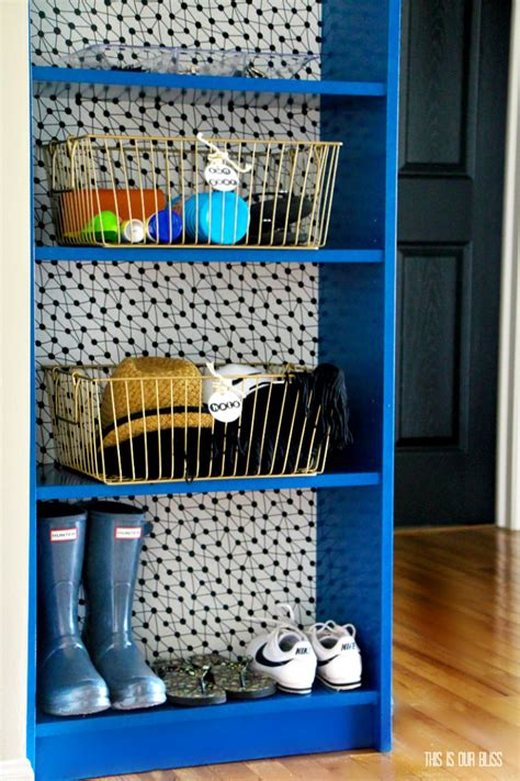 Painted Billy Bookcase by Ikea Hack Bookcase Makeover With Wallpaper Paint
