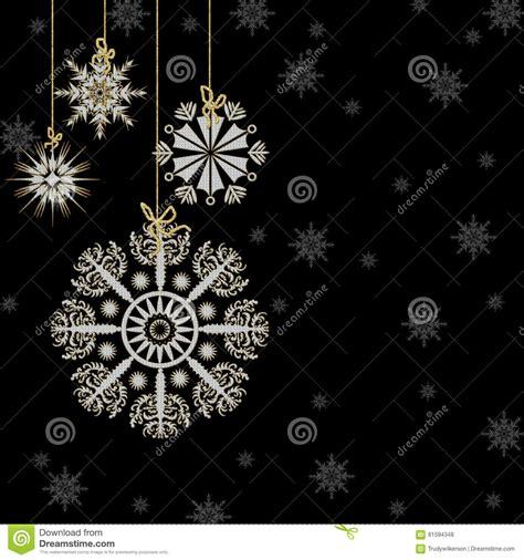 snowflakes hanging white gold black background stock