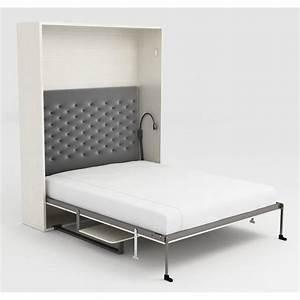 Lit Armoire Escamotable : armoire lit escamotable stone 160x200 blanc bureau achat ~ Dode.kayakingforconservation.com Idées de Décoration
