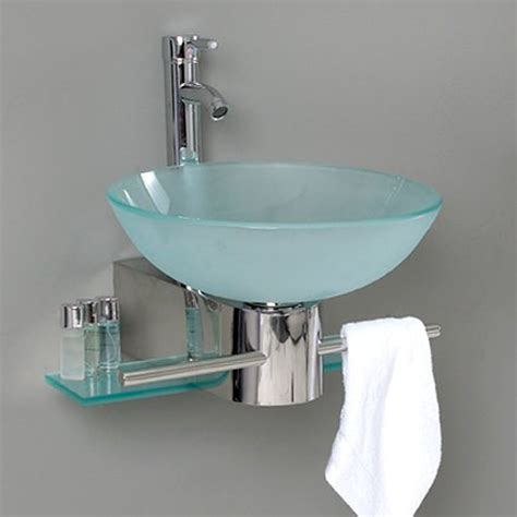 bathroom vanity with sink and faucet shop fresca vetro stainless steel glass round wall mount
