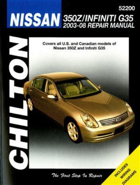free car repair manuals 2004 infiniti g35 navigation system chilton nissan 350z infiniti g35 2003 2008 repair manual