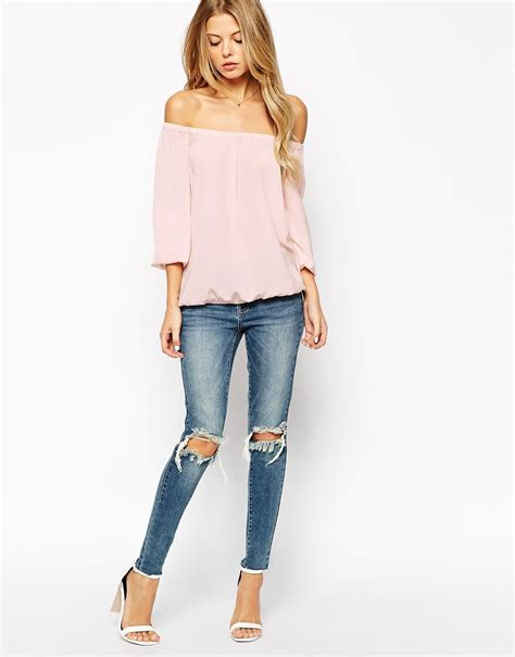 Lyst - Vila Off The Shoulder Top in Pink