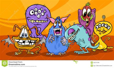Cartoon Monsters Illustration Group Stock Vector