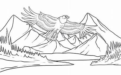 Coloring Eagle Scenery Flying Mountains Pages Ten