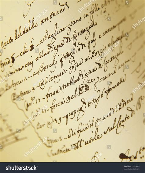 oldfashioned script writing sheet art paper stock photo