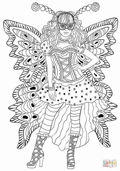Coloring Carnival Costume Butterfly Pages Wearing Printable