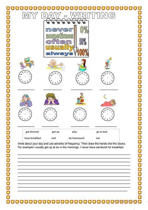 day writing worksheet  esl printable worksheets