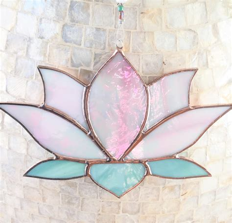 Stained Glass Suncatcher Pink Lotus Flower Sun Catcher
