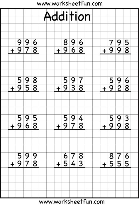 3rd grade math worksheet subtraction with borrowing addition regrouping 3rd grade math math worksheets
