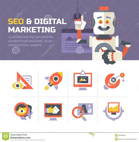 Seo Digital Marketing - seo digital marketing icons stock vector illustration