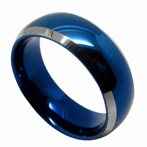 queenwish blue tungsten mens wedding rings 6mm 8mm domed with beveled silver edges unique