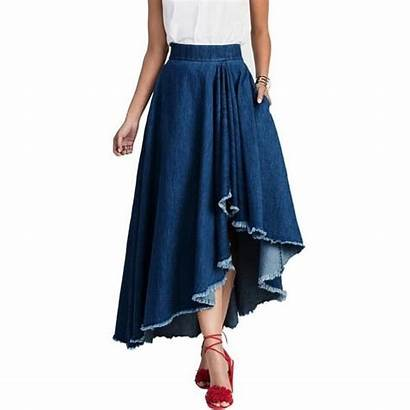 Denim Jean Swing Skirt Casual Midi Waist
