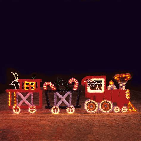 lighted christmas train led set light display led garland 3 car 22