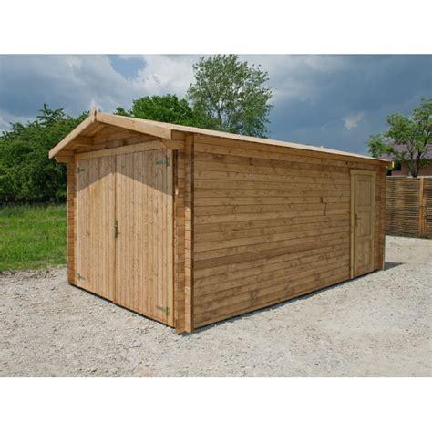 Garage En Bois Massif 40mm Traité Teinté Marron Gardy Shelter
