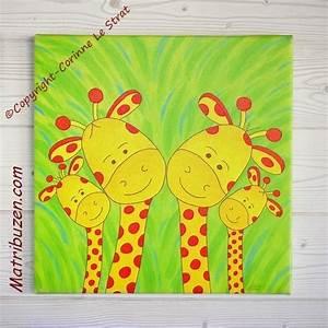 Tableau Chambre Enfant : tableau chambre enfant animaux de la savane jungle la famille girafes ~ Teatrodelosmanantiales.com Idées de Décoration