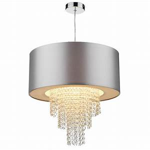 Lopez silver crystal ceiling light shade