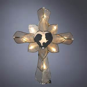 10 5 quot lighted cross with heart christmas tree topper ebay