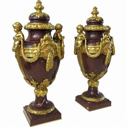 Marble Ormolu Vases French Urns Covered Pair