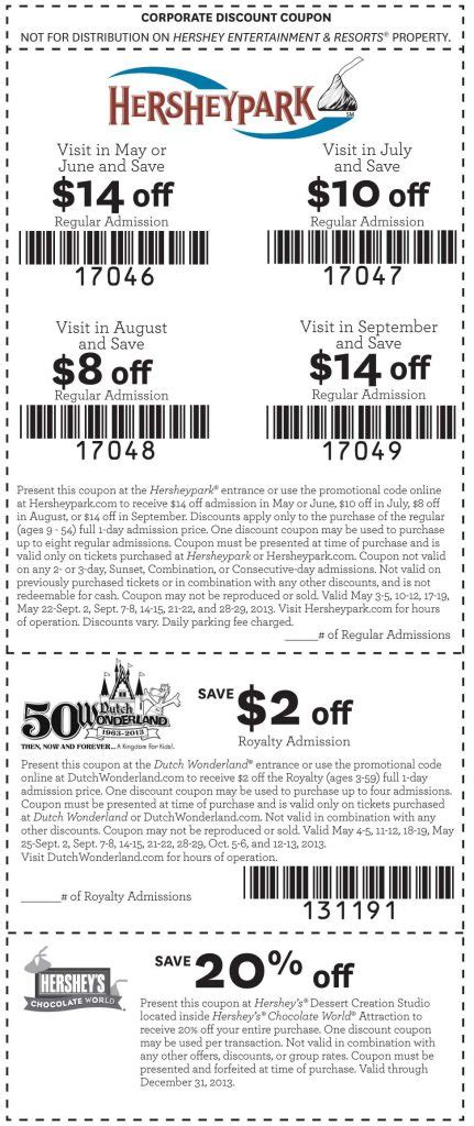 17854 Hershey Park Discount Code by Hershey Coupon Coupon