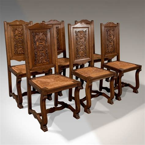 Antique Oak Set Of 6 French Kitchen Dining Chairs