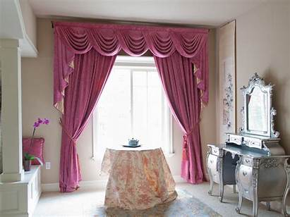 Pink Chenille Swag Valance Drapes