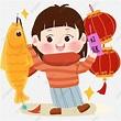 元宵節 正月十五 燈籠 燈會, 燈籠, 元宵節卡通女孩逛燈會猜燈謎png素材, 正月十五素材,PSD格式圖案和PNG圖片 ...