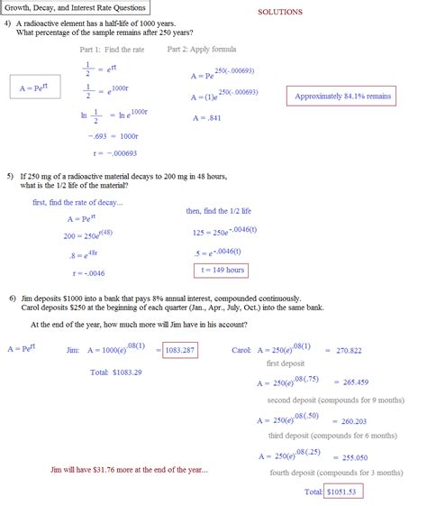 exponential functions growth and decay worksheet answers