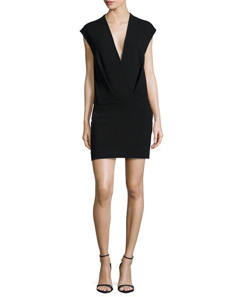 sleeve v neck dress l 39 agence cara v neck cap sleeve dress in black lyst