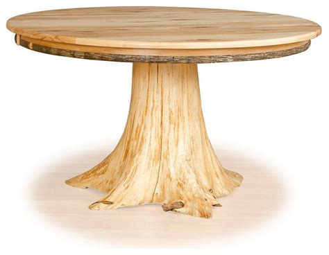 """Stump Table Hickory Top and Cedar Tree Stump, 36"""" Diameter   Rustic   Dining Tables   by"""