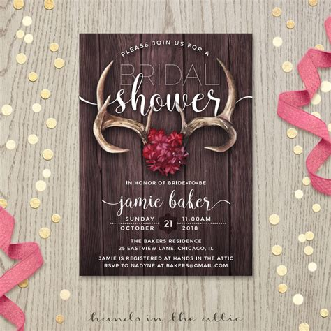 rustic antlers bridal shower invitation hands   attic