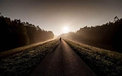 Sunrise Morning Wallpapers Fog Person Road Mist