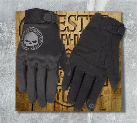 harley davidson mens skull soft shell gloves  em