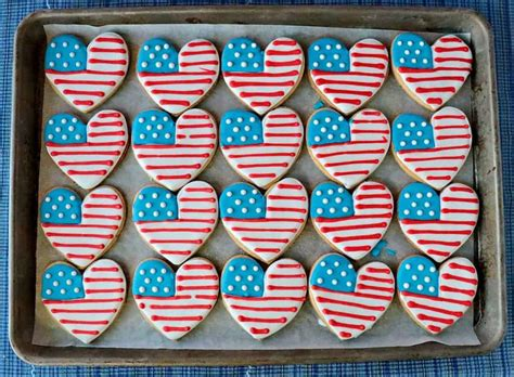 american flag heart decorated sugar cookies