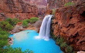 Grand, Canyon, Arizona, Usa, Havasu, Falls, Blue, Green, Waters