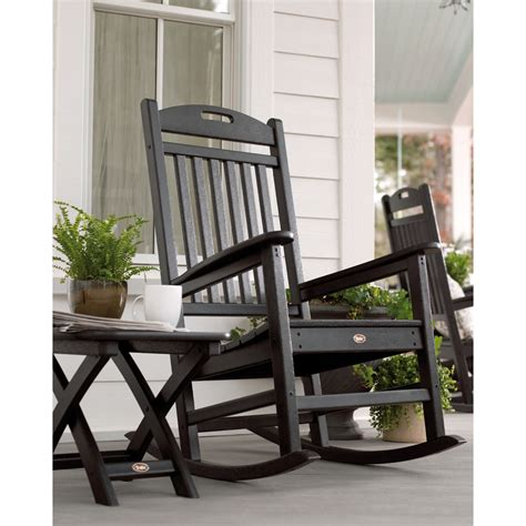 shop trex outdoor furniture yacht club charcoal black plastic patio rocking chair at lowes