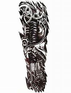 Mens Full Arm Sleeve Robot Tattoo  Biomechanical Machine