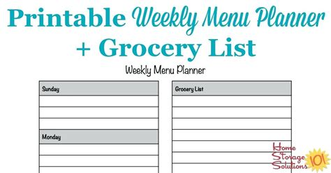 Weekly Meal Planner Template Word