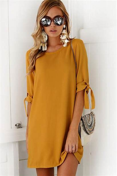 Neck Tie Round Yellow Casual Sleeve Shift