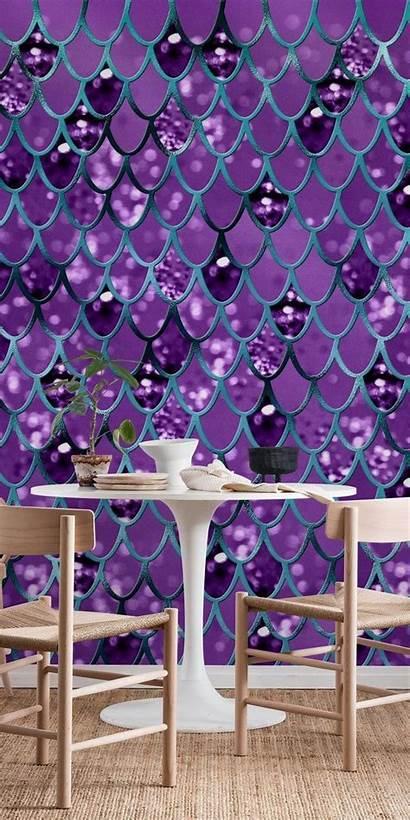 Mermaid Teal Scales Purple Happywall Pattern