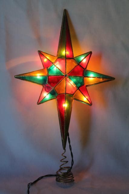 80s 90s vintage christmas tree topper ornament lighted