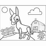 Mule Happy Coloring Printable Farm sketch template