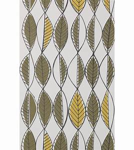 Longueur Rouleau Papier Peint : papier peint retro leaves 1 rouleau larg 53 cm olive ~ Premium-room.com Idées de Décoration