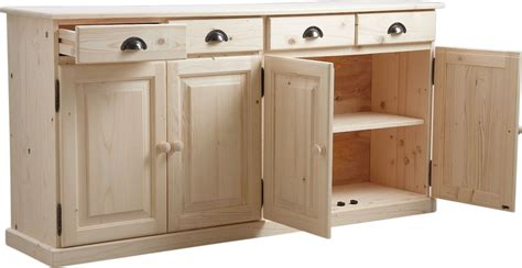 enfilade cuisine buffet 4 portes 4 tiroirs en bois brut