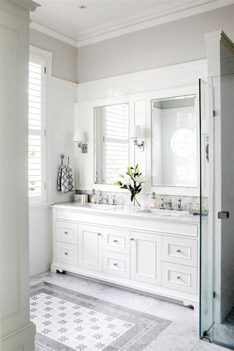 brass double washstand contemporary bathroom