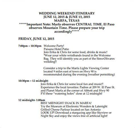 sample wedding weekend itinerary templates sample
